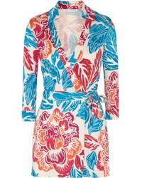 Diane von Furstenberg | Blue Celeste Floral-print Silk-jersey Playsuit | Lyst