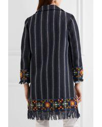 Tory Burch - Blue Embellished Striped Coat - Lyst