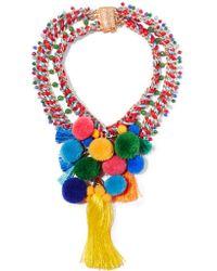 Rosantica | Red Rosita Gold-tone, Quartz And Pompom Necklace | Lyst