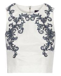 Notte by Marchesa | White Appliquéd Cotton And Silk-blend Top | Lyst