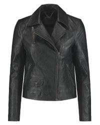 Muubaa | Black Crinkled-leather Biker Jacket | Lyst