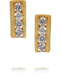 Kevia | Metallic Gold-plated Cubic Zirconia Earrings | Lyst