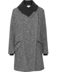 Vince   Gray Leather-trimmed Wool And Cotton-blend Coat   Lyst