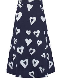 Être Cécile | Blue Printed Jersey Midi Skirt | Lyst
