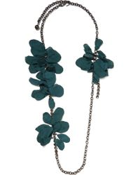 Lanvin - Green Gina Pewter-plated, Swarovski Crystal And Organza Necklace - Lyst