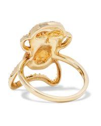 Khai Khai   Metallic Speak No Evil 18-karat Gold Diamond Ring   Lyst