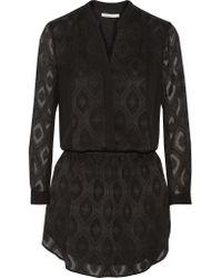 Rebecca Minkoff | Black Hellen Silk-embroidered Crepe Mini Dress | Lyst