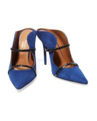 Malone Souliers - Blue Maureen Snake-trimmed Suede Mules - Lyst