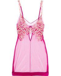 La Perla - Pink Embroidered Tulle Chemise - Lyst