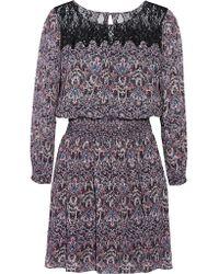 Joie - Black Amedeo Printed Silk Mini Dress - Lyst