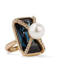 Oscar de la Renta - Metallic Gold-plated, Swarovski Crystal And Faux Pearl Ring - Lyst