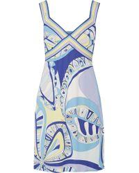 Emilio Pucci | Blue Printed Stretch-jersey Mini Dress | Lyst