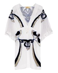 Emilio Pucci | White Embroidered Cotton And Silk-blend Kaftan | Lyst