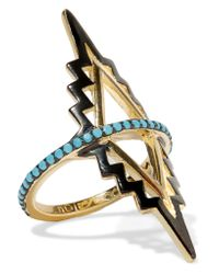 Noir Jewelry | Metallic Black Rapids Gold-plated Turquoise Ring | Lyst