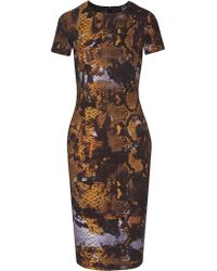 McQ | Orange Printed Stretch-cotton Dress | Lyst