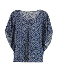 Diane von Furstenberg | Blue Stella Printed Silk-blend Top | Lyst