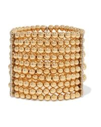 Kenneth Jay Lane | Metallic Gold-tone Bead And Crystal Bracelet | Lyst