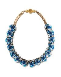 Shourouk | Blue Daisy Capri Gold-tone, Crystal And Sequin Necklace | Lyst