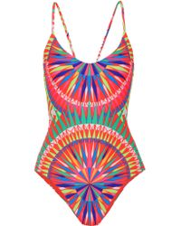 Mara Hoffman | Red Cutout Printed Swimsuit | Lyst