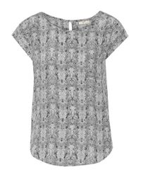 Joie | Gray Rancher Printed Silk Top | Lyst