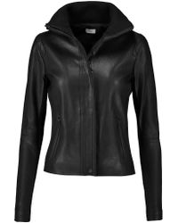 Vince | Black Ribbed Knit-paneled Leather Jacket | Lyst