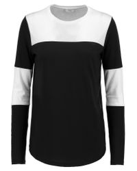 VINCE | Black Color-block Pima Cotton And Modal-blend Top | Lyst