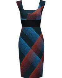 Roland Mouret   Blue Arabella Printed Wool-blend Crepe Dress   Lyst