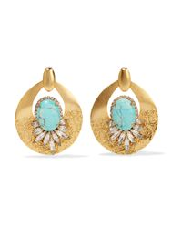 Elizabeth Cole - Blue Gold-tone Stone And Crystal Earrings - Lyst