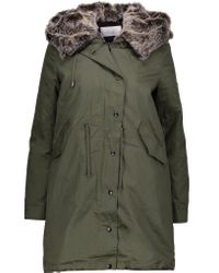 W118 by Walter Baker | Blue Alyssa Convertible Faux Fur-trimmed Cotton-canvas Hooded Coat | Lyst