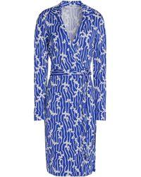 Diane von Furstenberg - Jeanne Printed Silk-jersey Wrap Dress Bright Blue - Lyst