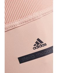 Adidas By Stella McCartney - Pink Cropped Mesh-trimmed Stretch-jersey Leggings - Lyst