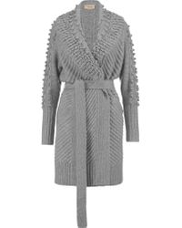 Temperley London   Gray Nell Belted Wool-blend Cardigan   Lyst