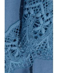Cosabella   Blue Edith Guipure Lace-trimmed Pima Cotton And Modal-blend Robe   Lyst