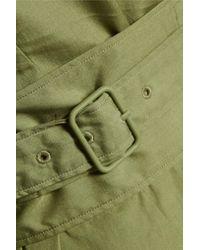 3.1 Phillip Lim Green Draped Belted Cotton-poplin Dress