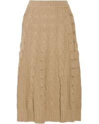 Michael Kors | Multicolor Cable-knit Merino Wool And Cashmere-blend Midi Skirt | Lyst