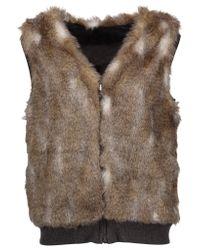 Splendid   Brown Ashville Reversible Faux Fur And Cotton-blend Vest   Lyst