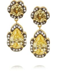 Kenneth Jay Lane - Metallic - Rhodium-plated Cubic Zirconia Drop Earrings - Gold - Lyst