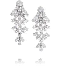 Kenneth Jay Lane | Metallic Rhodium-plated Cubic Zirconia Clip Earrings | Lyst