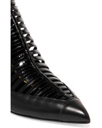 Balmain - Black Cutout Leather Pumps - Lyst