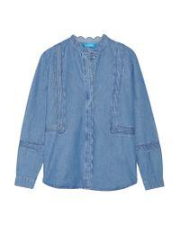 M.i.h Jeans | Blue Ile Scalloped Cotton-chambray Shirt | Lyst