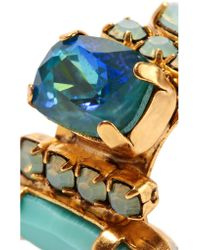 Elizabeth Cole - Blue Cameron Gold-plated, Swarovski Crystal And Stone Earrings - Lyst