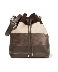 Proenza Schouler | Brown Large Watersnake, Suede And Leather Bucket Bag | Lyst