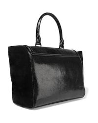 Hill & Friends Black Happy Paneled Textured-leather And Suede Tote