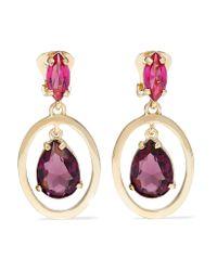 Oscar de la Renta | Multicolor Gold-tone Crystal Earrings | Lyst