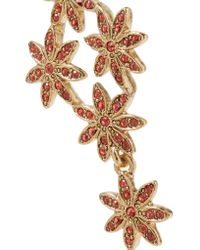 Oscar de la Renta | Metallic Goldplated Crystal and Faux Pearl Clip Earrings | Lyst