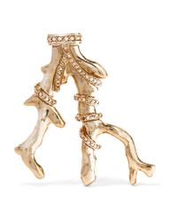 Oscar de la Renta - Metallic Gold-tone Crystal Brooch - Lyst