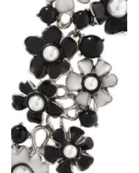 Oscar de la Renta | Black Silver-tone And Resin Bracelet | Lyst