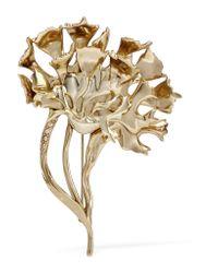 Oscar de la Renta | Metallic Carnation Gold-plated Crystal Brooch | Lyst