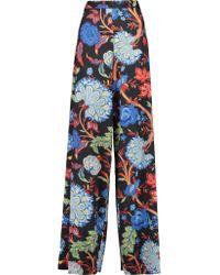 Alice + Olivia | Blue Elinor Printed Satin Wide-leg Pants | Lyst