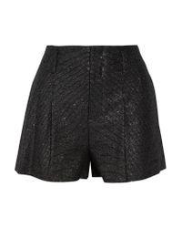 Alice + Olivia - Black Pleated Metallic Tweed Shorts - Lyst